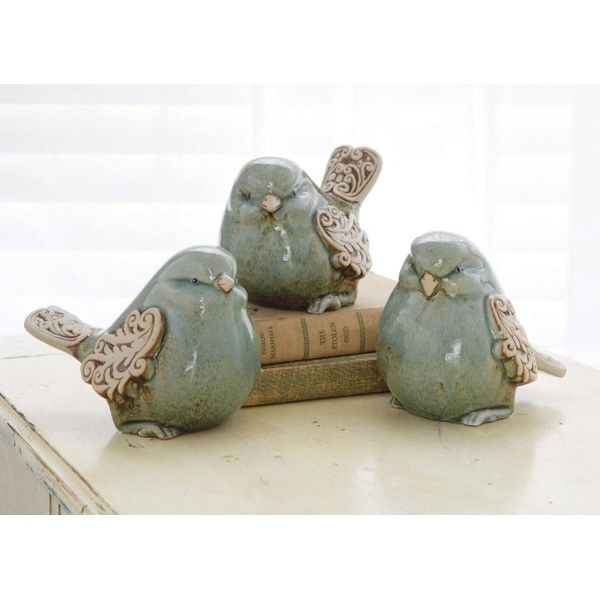 Pack of 6 Light Blue Bird Figurines with Scroll Design Wings - N/A
