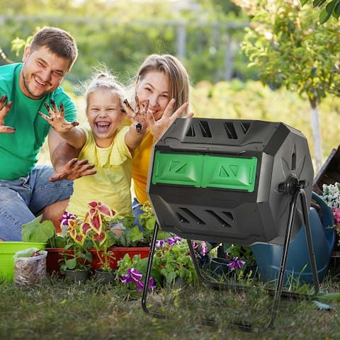 Outsunny Tumbling Compost Bin Outdoor Dual Chamber 360-deg Rotating Composter 43 Gallon w/ Sliding Doors & Solid Steel Frame