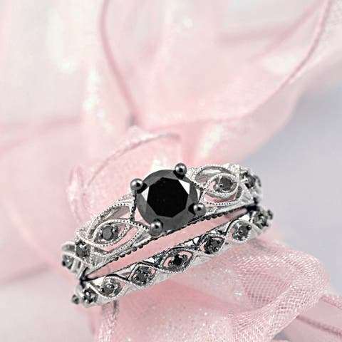 Miadora 10k White Gold Black Diamond Infinity Engagement Ring Set