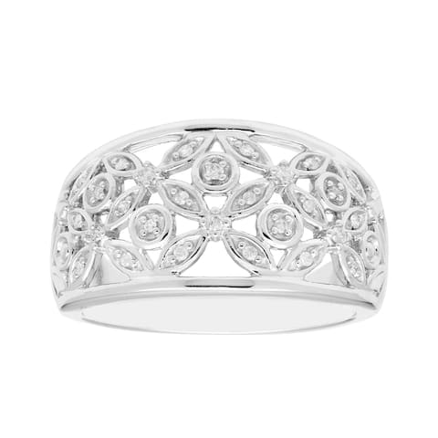 Sterling Silver 1/10cttw Diamond Floral Ring, I3