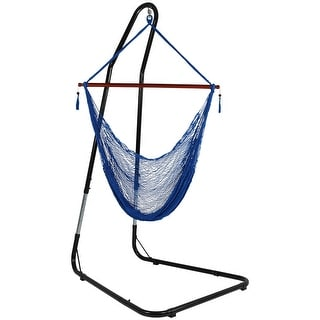 Sunnydaze Cabo Extra-Large Hanging Rope Hammock Chair - Adjustable Stand - Blue - With Stand