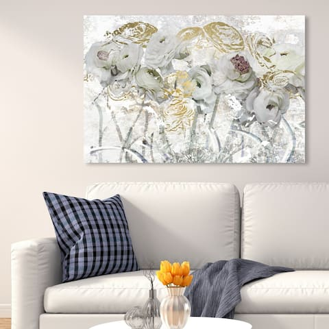 Oliver Gal 'Guest Brought Florals' Floral and Botanical Wall Art Canvas Print Florals - White, Gold