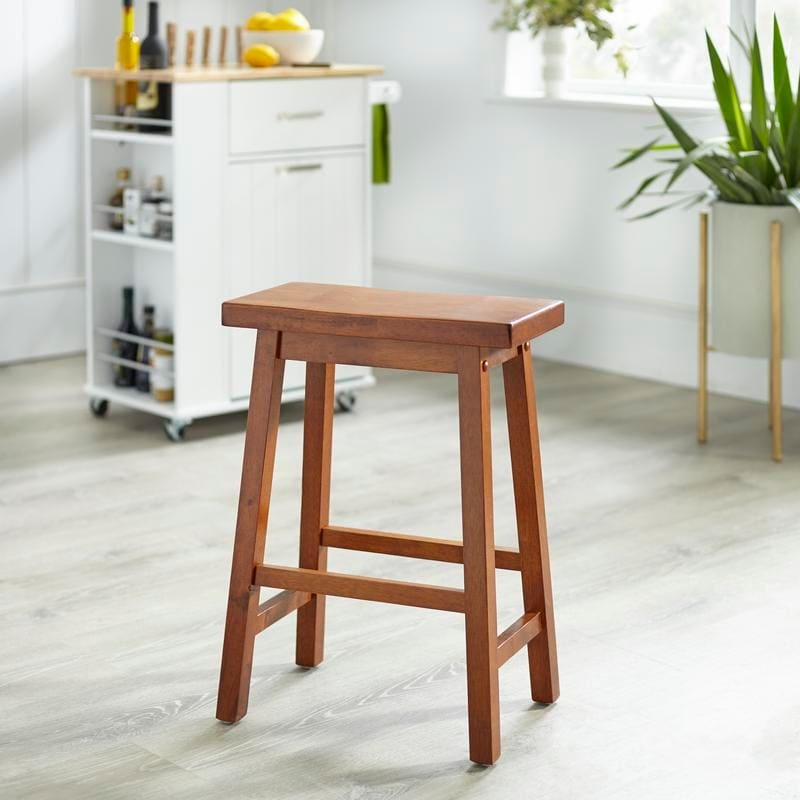 Simple Living Arizona 24 Inch Solid Wood Counter Height Saddle Stool On Sale Overstock 27168473