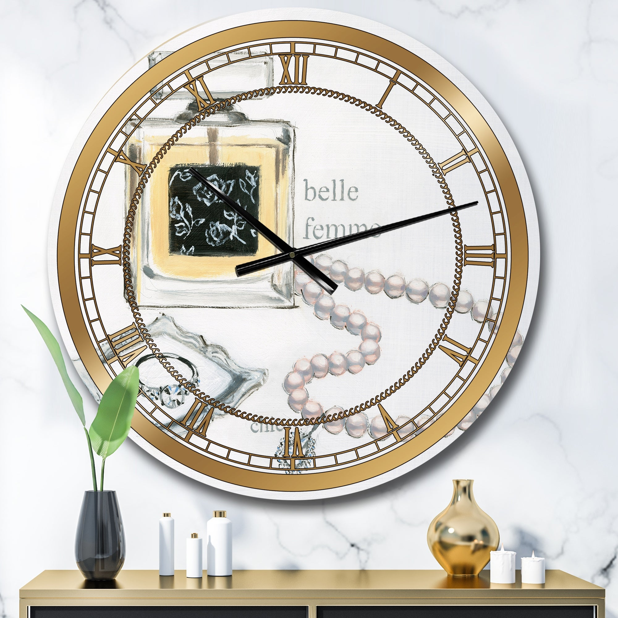 Designart Perfume Glam Bathroom I Glam Oversized Wall Clock Overstock 27807264