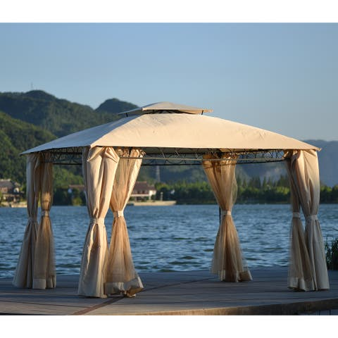 Beige Double Tiered Grill Canopy Gazebo Tent with UV Protection