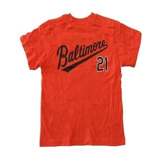 Mlb Little Boys Orange Baltimore 21 Short Sleeve Shirt XL