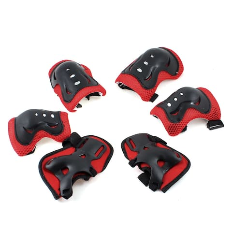 Unique Bargains 6 in 1 Skating Roller Meshy Knee Palm Elbow Protector Guard Pad Red for Kids