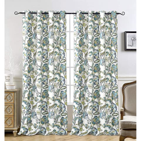 DriftAway Layla Classic America Style Floral Leaves Window Curtain Grommet 2 Panels