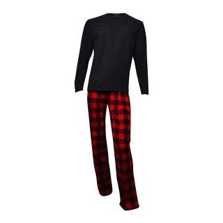 Club Room Men's Fleece Pajama Set (Buffalo Plaid, M) - M