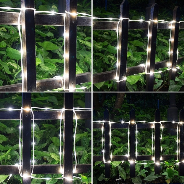 2-way Operated Solar/Power Controller Waterproof 42.6FT 100LED Rope Light w/ 8 Model White