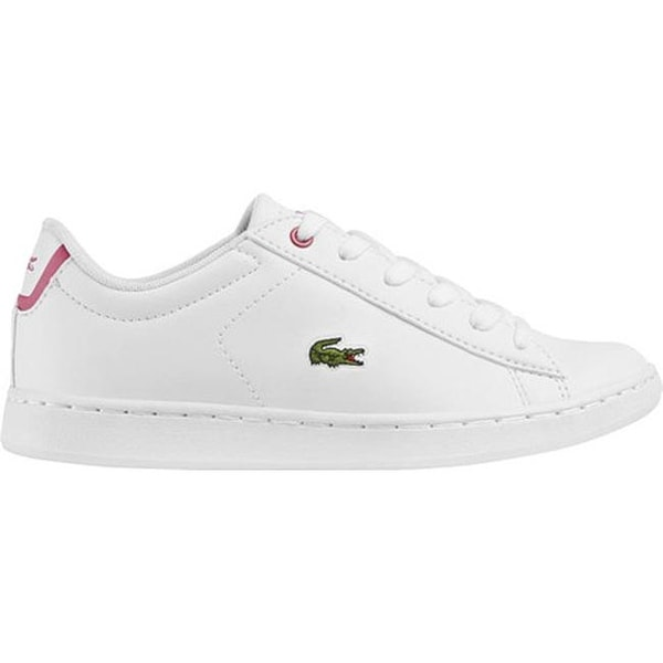 86a1d9f0b Shop Lacoste Children s Carnaby EVO Sneaker - Little Kid White Pink  Synthetic Leather - Free Shipping Today - Overstock - 22864126