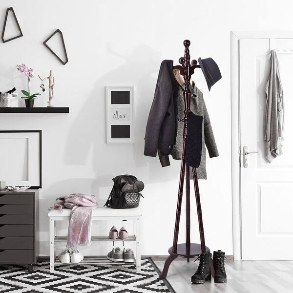 Shop Costway 73'' Free Standing Solid Wood Coat Hat Purse Hanger