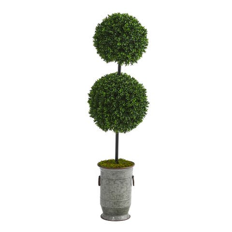 "50"" Boxwood Double Ball Topiary Tree in Vintage Planter UV Resistant"