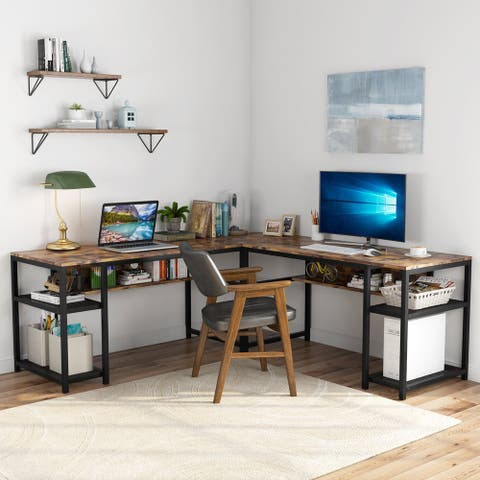 70-Inch L-Shaped Desk with Shelves