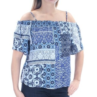 Womens Blue Floral Spaghetti Strap Off Shoulder Casual Top Size L