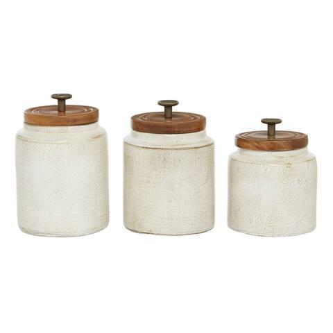 3 Pcs Kitchen Jars Shabby Chic Storage White - 5 x 6 x 8