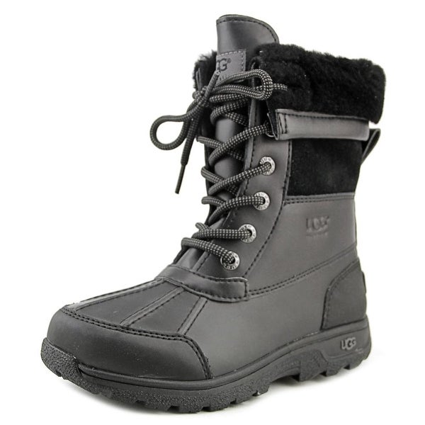 Ugg Australia Butte II Youth Round Toe Leather Black Snow Boot
