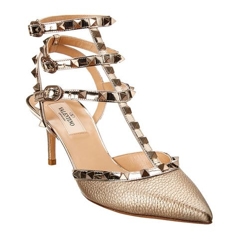 Valentino Rockstud Caged 65 Metallic Leather Ankle Strap Pump