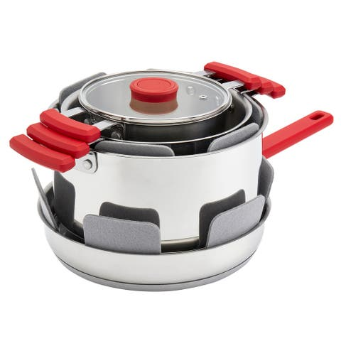 Denmark 7PC Stax Stainless Steel Cookware Set - Red