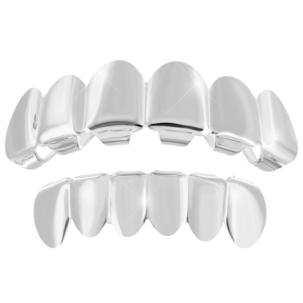 Top Bottom Grillz Set Solid 14K White Gold Finish New In Style Hip Hop