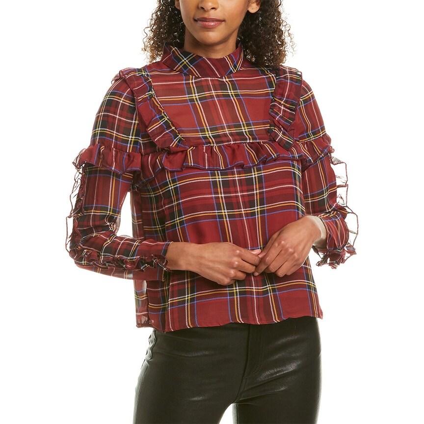 kensie Plaid Peplum Shirt Bone Combo L