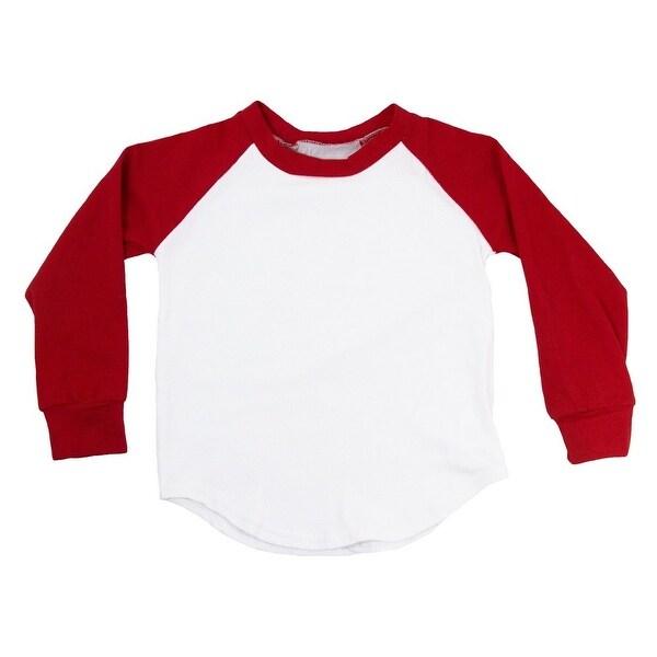 Unisex Baby Red Two Tone Long Sleeve Raglan Baseball T-Shirt