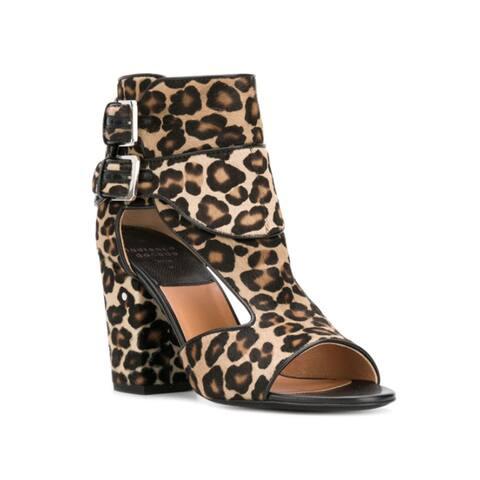 Laurence Dacade Women's Leather Calf Hair Rush Leopard Print Sandals