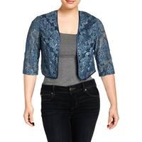 R&M Richards Womens Petites Jacket Lace Sequined - 14P