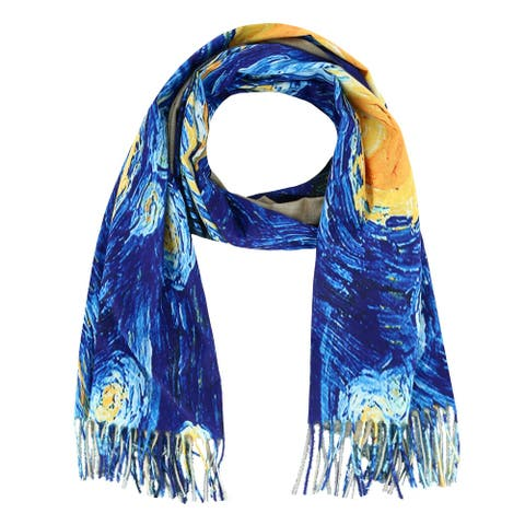 Love of Fashion Women's Van Gogh Starry Night Print Scarf with Fringe - Starry Night Print - one size