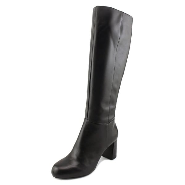 Nine West Cambridge Women Round Toe Leather Black Knee High Boot