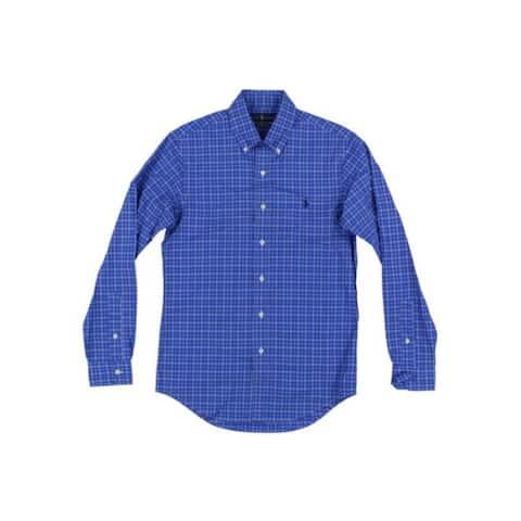 RALPH LAUREN Mens Blue Long Sleeve Classic Fit Button Down Casual Shirt XS