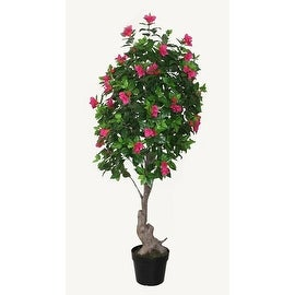 """74.75"""" Decorative Potted Artificial Green Pink and Red Bougainvillea Tree"""
