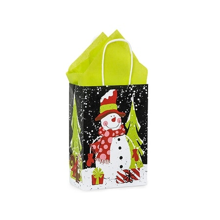 """Pack Of 25, Rose 5.5 X 3.25 X 8.5"""" Chalkboard Snowman Recycled Paper Shopping Bags Made In Usa"""