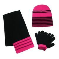 CTM® Girls' Striped 3 Piece Winter Set