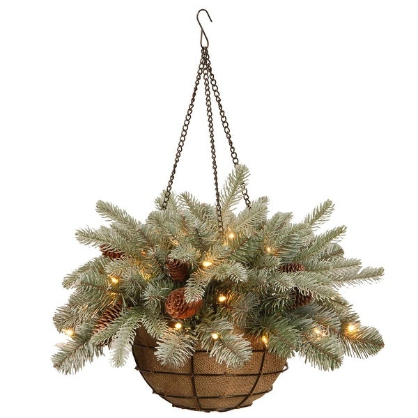 "20"" Green Spruce Hanging Basket with Warm White LED Lights - N/A"