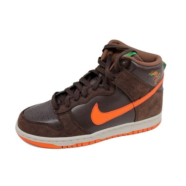 Nike Women's Dunk High Premium Dark Cinder/Blue-Birch-Green Bean 314385-281 Size 7.5