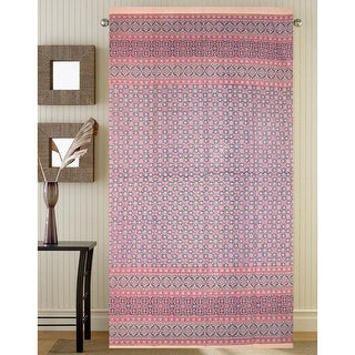 Details about Morocaan Foulard Print Floral Curtain Cotton Drape Door Panel Pink Rod Pocket - 46 x 82 inches