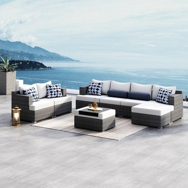 Corvus Yolanda 8-piece Sunbrella Sectional Wicker Sofa Set. Opens flyout.