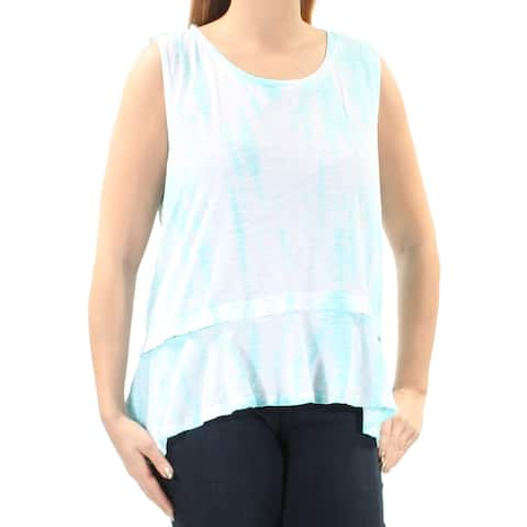 STYLE & CO Womens Blue Pleated Tie Dye Sleeveless Jewel Neck Hi-Lo Top Size: L