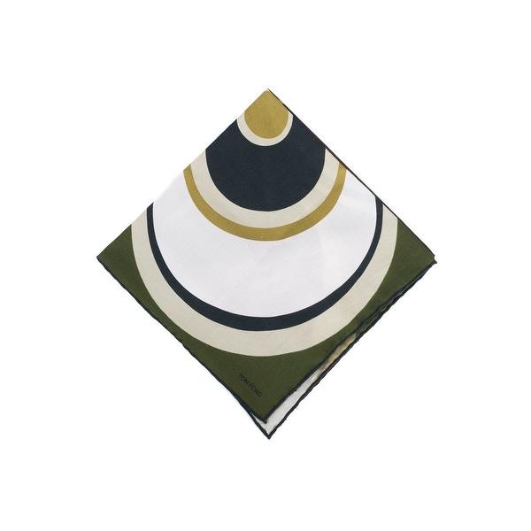 Tom Ford Mens Olive Abstract Circle Silk Pocket Square