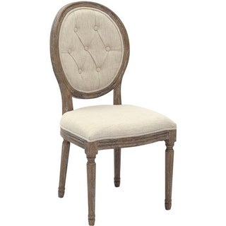 2xhome - Modern French Vintage Linen Round Back Dining Chair Cream Fabric Beige Wood Leg