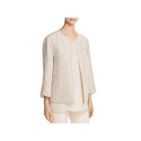 Lafayette 148 New York Womens Milo Open-Front Blazer Linen Textured