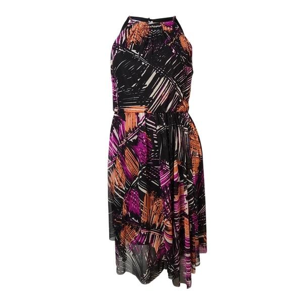 Maggy London Women's Abstract Halter Mesh Blouson Dress - Beige/Pink