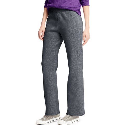 Hanes ComfortSoft ; EcoSmart® Women's Petite Open Leg Sweatpants - Size - L - Color - Slate Heather