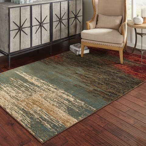 Strick & Bolton Gilmore Blue/ Brown Abstract Area Rug