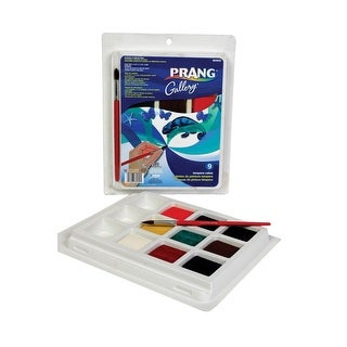 Prang Non-Toxic Tempera Paint Cake Set with Brush, 1-1/2 X 1-1/2 X 5/8 in, Assorted Color, Set of 9