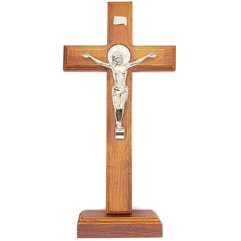 Wood Catholic Crucifix Cross with Base for Religious Home Décor, 12 Inches