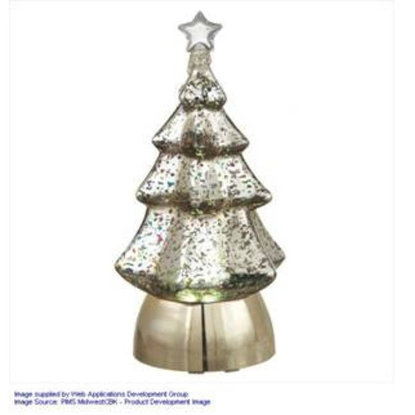 "8.5"" Snowy Winter Battery Operated Lighted Christmas Tree Table Top Decoration - silver"