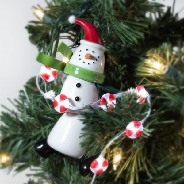 Department 56 Gumdrop Snowman Ornament With Peppermint Chaser Lights #99714 - WHITE