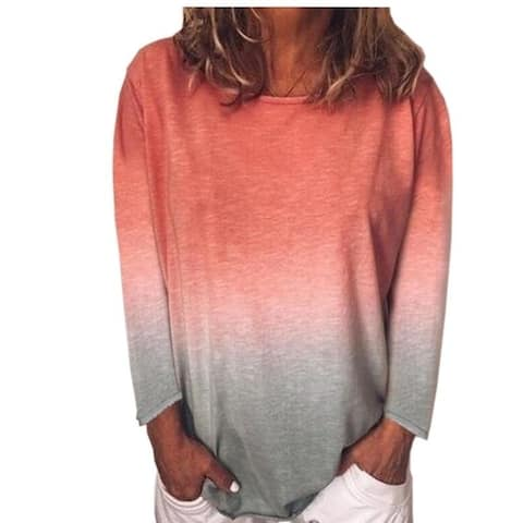 Gradient Tie-Dye Long Sleeve Tunics